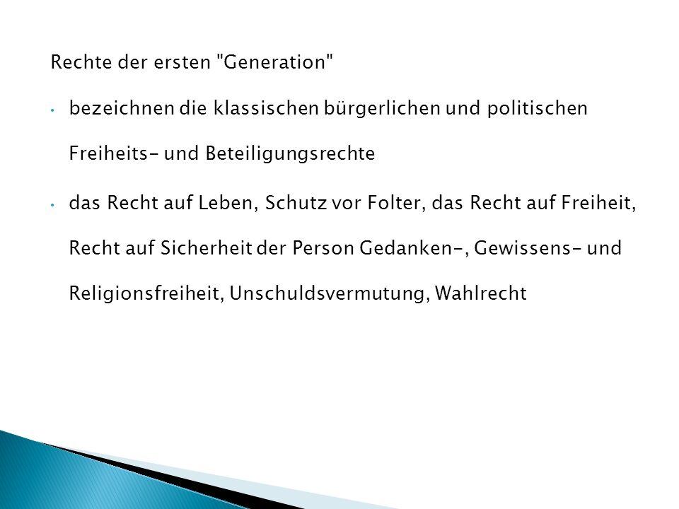 Rechte der ersten Generation
