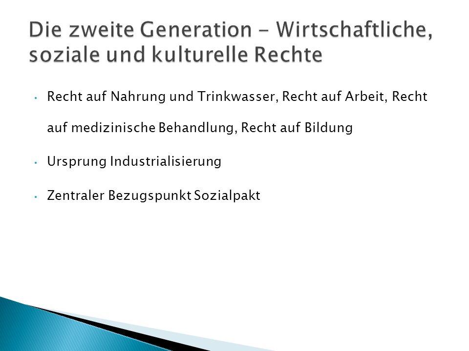 Die zweite Generation - Wirtschaftliche, soziale und kulturelle Rechte