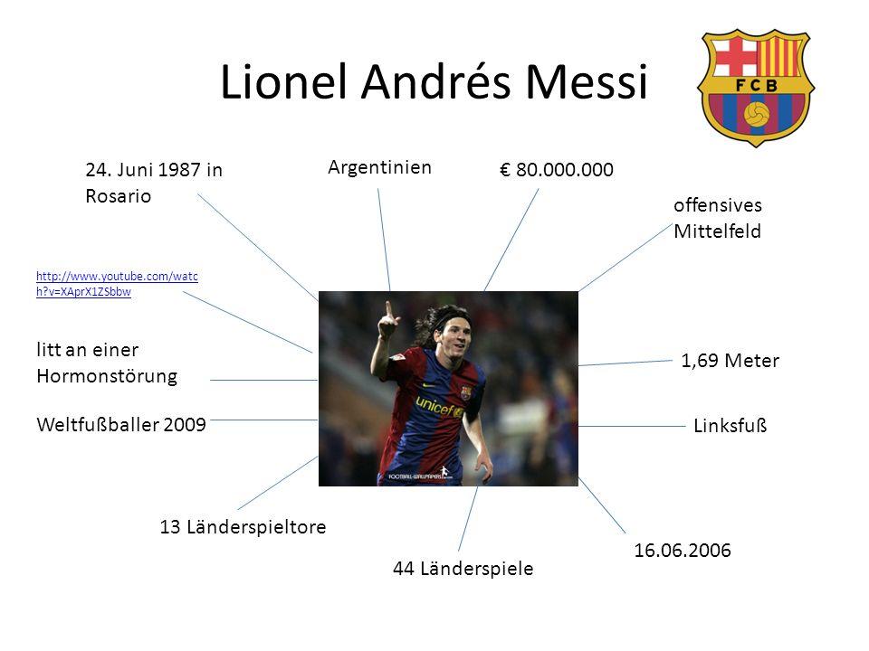 Lionel Andrés Messi 24. Juni 1987 in Rosario Argentinien € 80.000.000