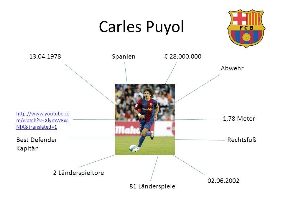 Carles Puyol 13.04.1978 Spanien € 28.000.000 Abwehr 1,78 Meter