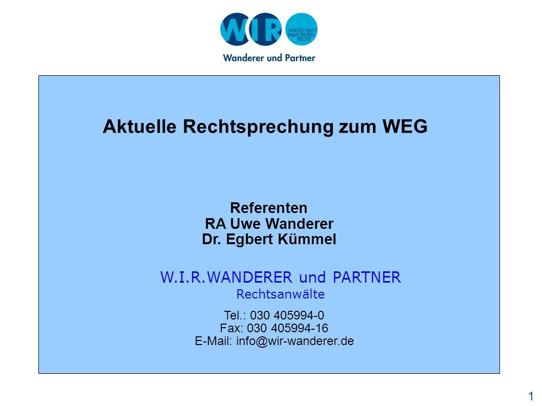 Aktuelle Rechtsprechung zum WEG
