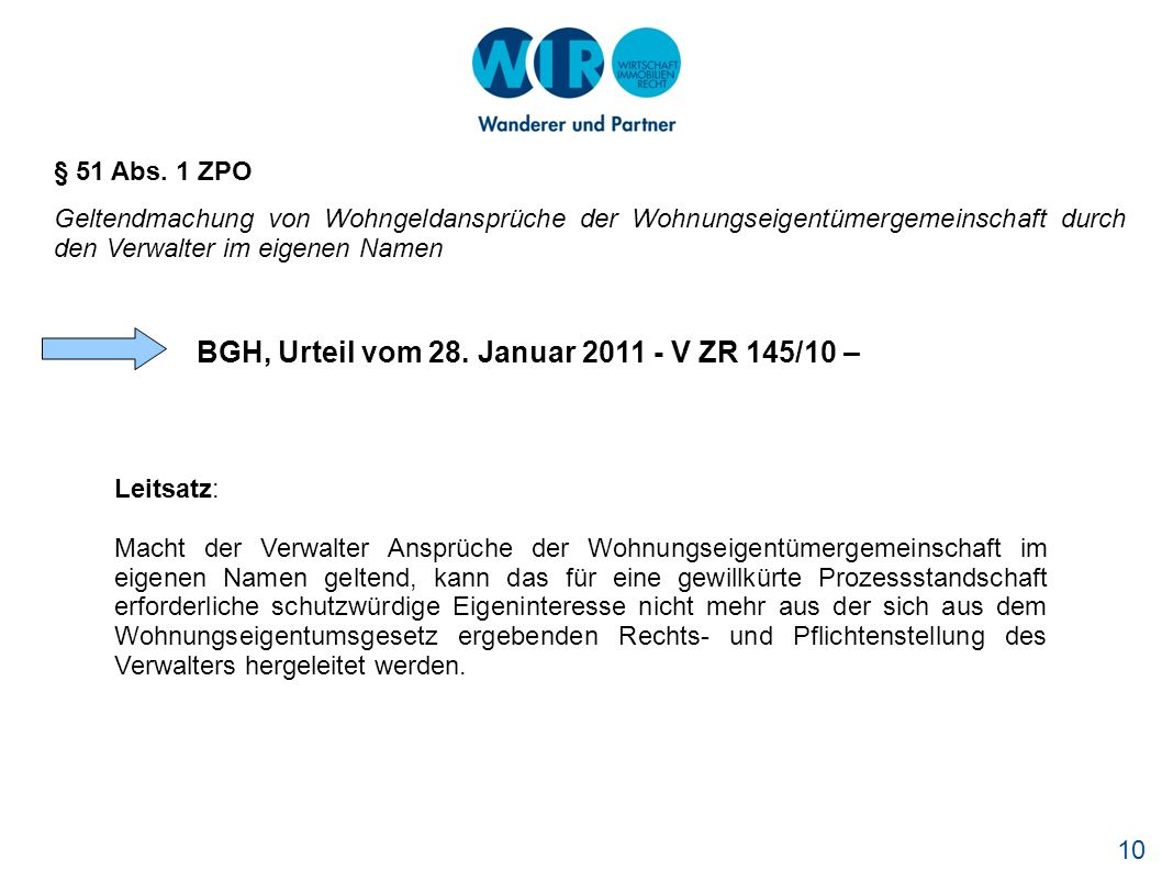 BGH, Urteil vom 28. Januar 2011 - V ZR 145/10 –
