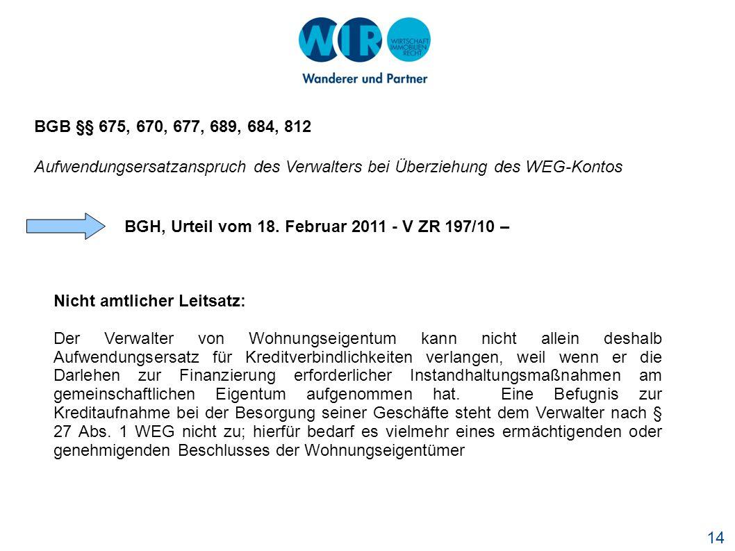 BGH, Urteil vom 18. Februar 2011 - V ZR 197/10 –