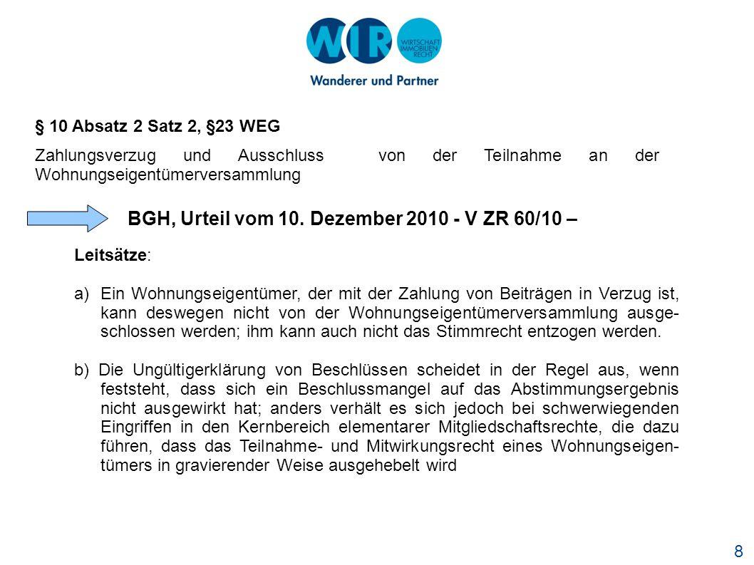 BGH, Urteil vom 10. Dezember 2010 - V ZR 60/10 –