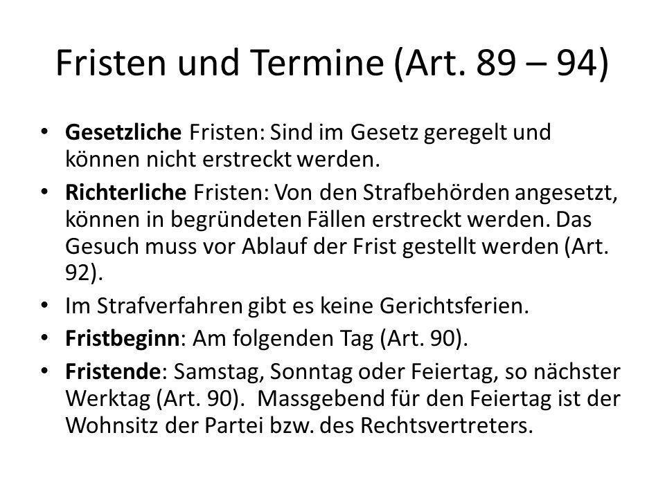 Fristen und Termine (Art. 89 – 94)