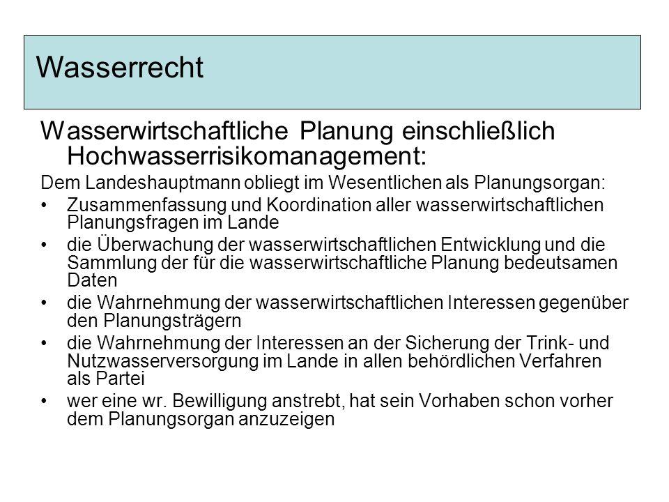 Wasserrecht Wasserwirtschaftliche Planung einschließlich Hochwasserrisikomanagement: Dem Landeshauptmann obliegt im Wesentlichen als Planungsorgan: