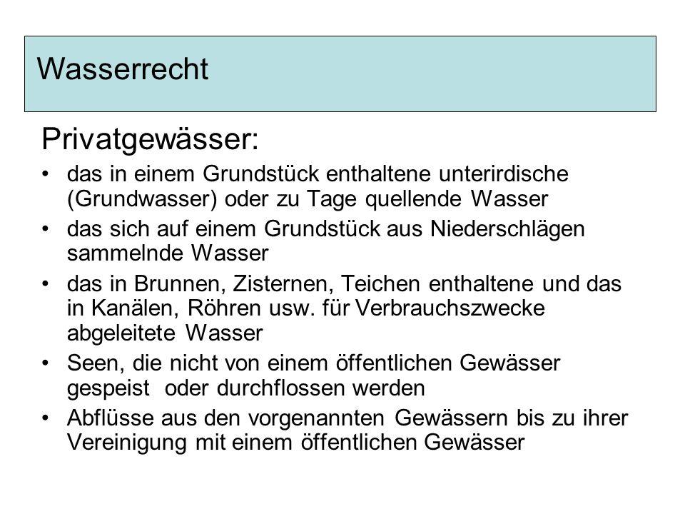 Wasserrecht Privatgewässer: