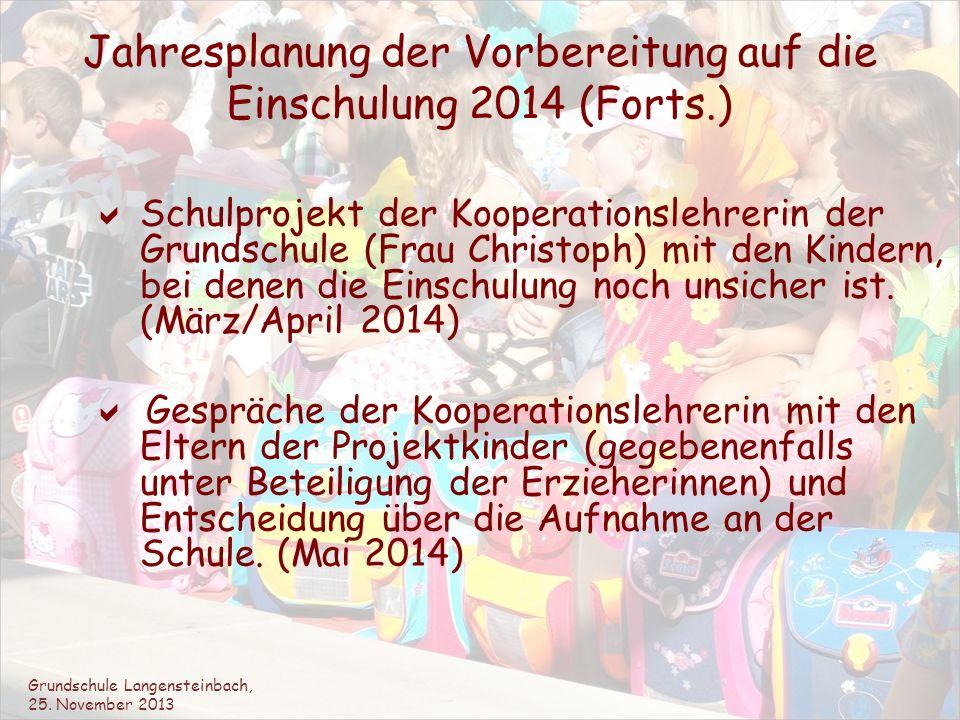 Jahresplanung der Vorbereitung auf die Einschulung 2014 (Forts.)