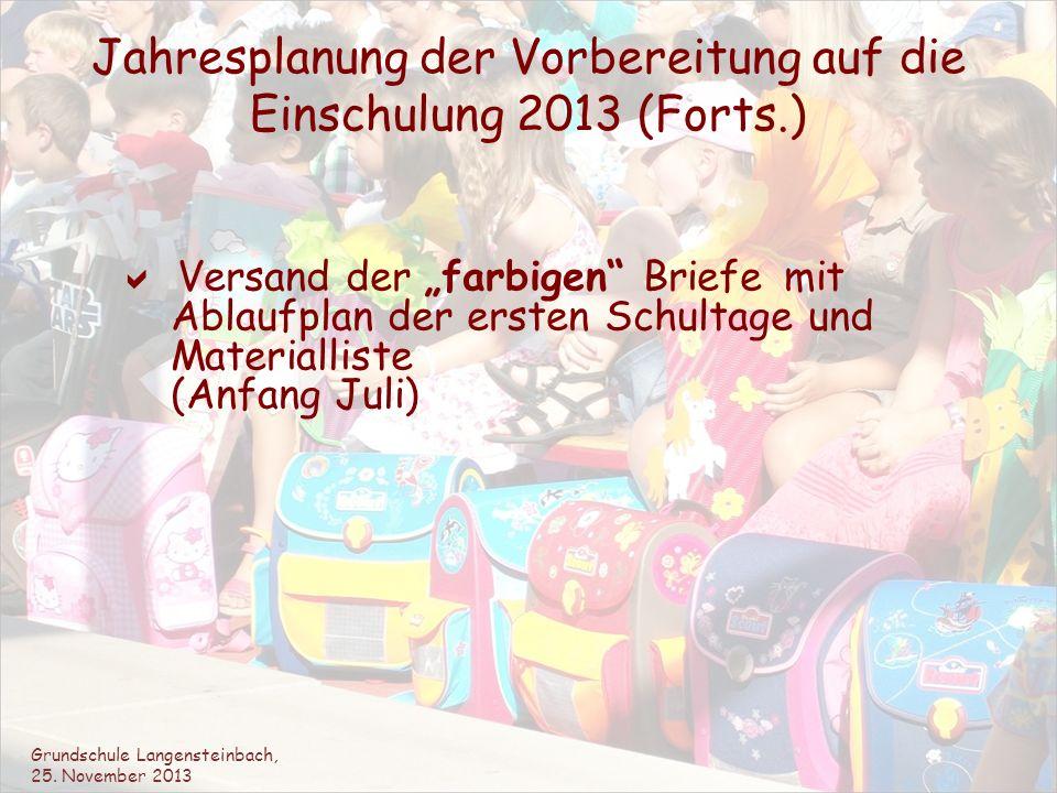Jahresplanung der Vorbereitung auf die Einschulung 2013 (Forts.)