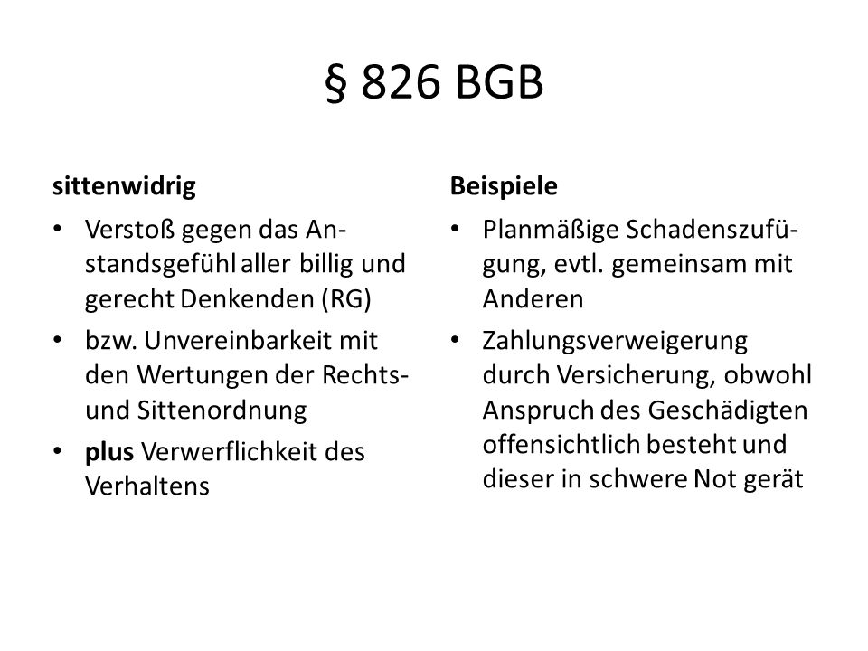 § 826 BGB sittenwidrig Beispiele