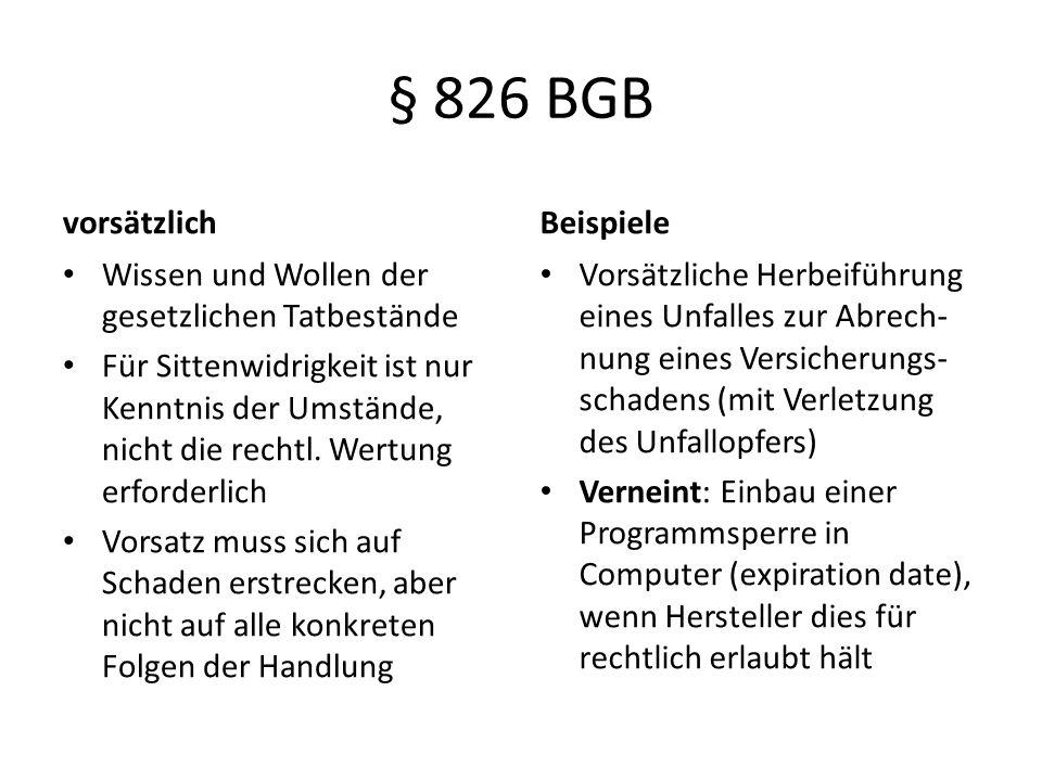 § 826 BGB vorsätzlich Beispiele