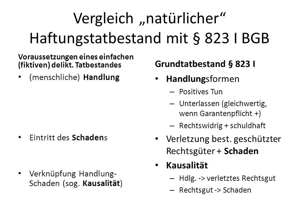 """Vergleich """"natürlicher Haftungstatbestand mit § 823 I BGB"""