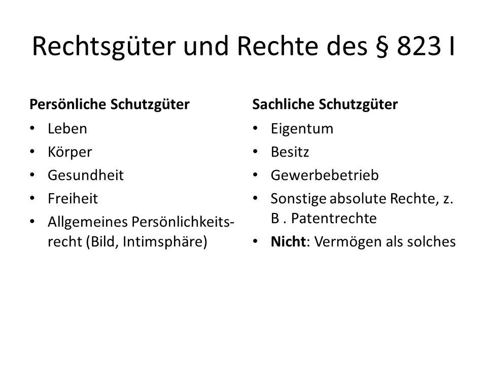Rechtsgüter und Rechte des § 823 I