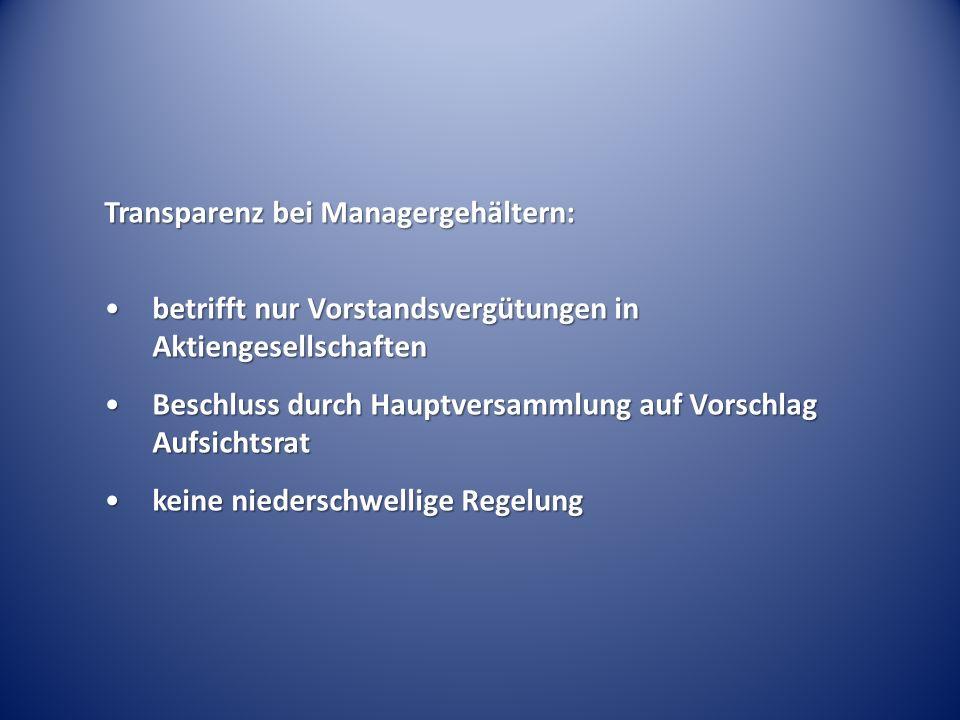 Transparenz bei Managergehältern: