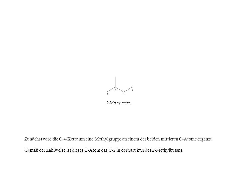 2 4. 1. 3. 2-Methylbutan. Zunächst wird die C 4-Kette um eine Methylgruppe an einem der beiden mittleren C-Atome ergänzt.
