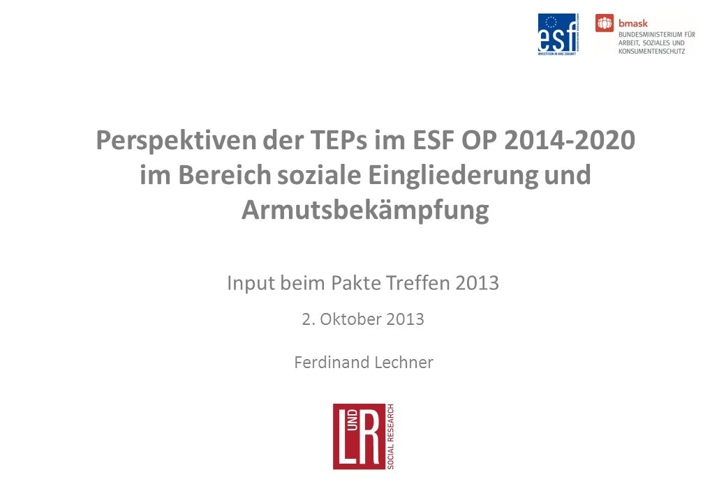 Perspektiven der TEPs im ESF OP 2014-2020