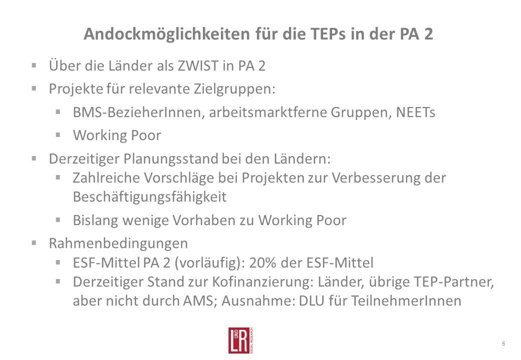 Andockmöglichkeiten für die TEPs in der PA 2