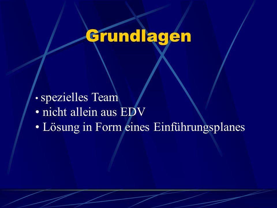 Grundlagen nicht allein aus EDV Lösung in Form eines Einführungsplanes