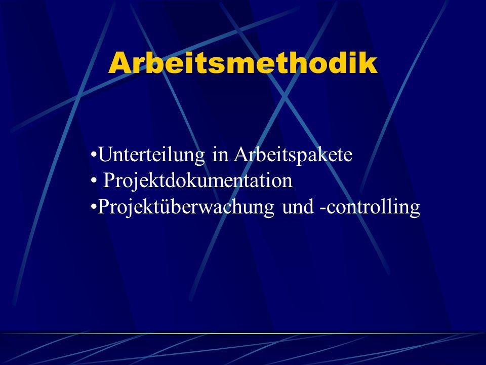 Arbeitsmethodik Unterteilung in Arbeitspakete Projektdokumentation