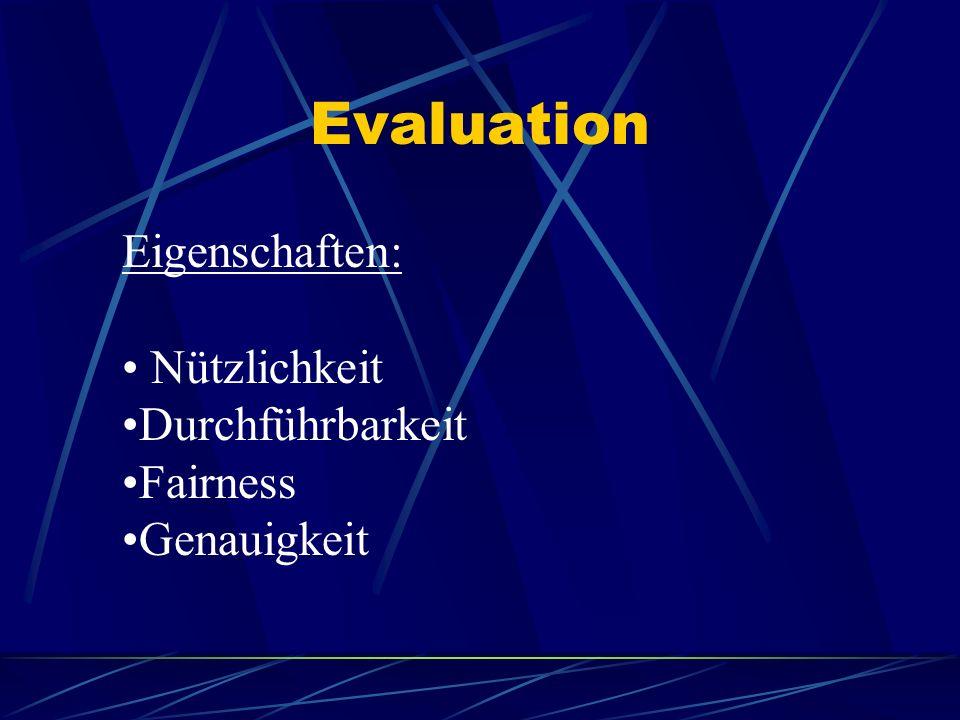 Evaluation Eigenschaften: Nützlichkeit Durchführbarkeit Fairness
