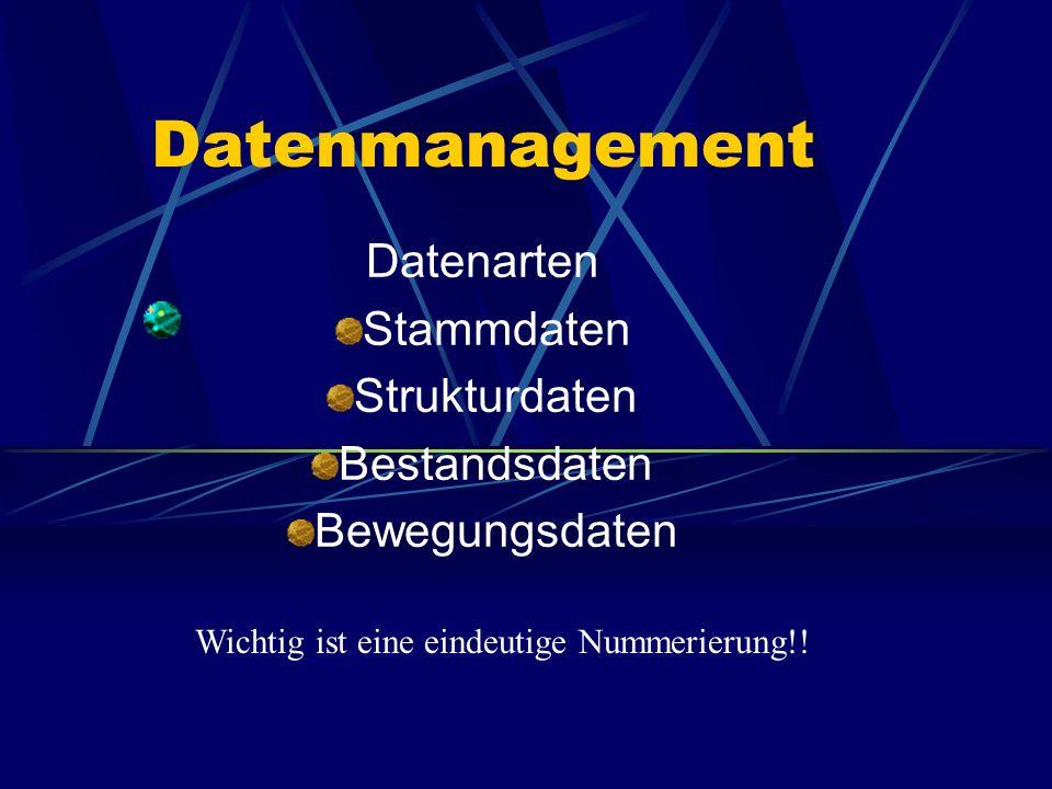 Datenarten Stammdaten Strukturdaten Bestandsdaten Bewegungsdaten