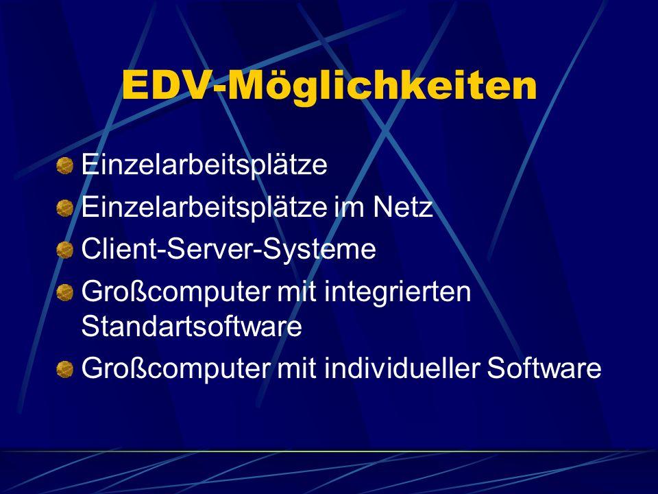 EDV-Möglichkeiten Einzelarbeitsplätze Einzelarbeitsplätze im Netz