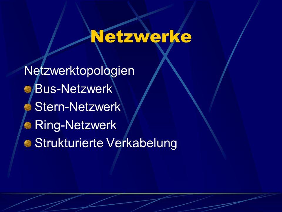 Netzwerke Netzwerktopologien Bus-Netzwerk Stern-Netzwerk Ring-Netzwerk