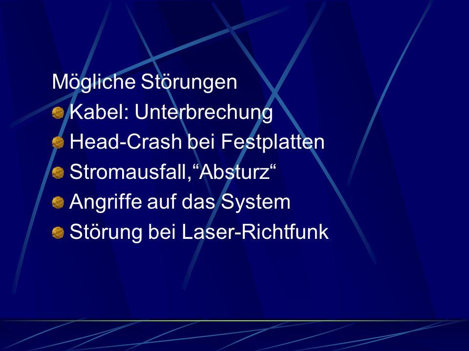 Mögliche Störungen Kabel: Unterbrechung. Head-Crash bei Festplatten. Stromausfall, Absturz Angriffe auf das System.