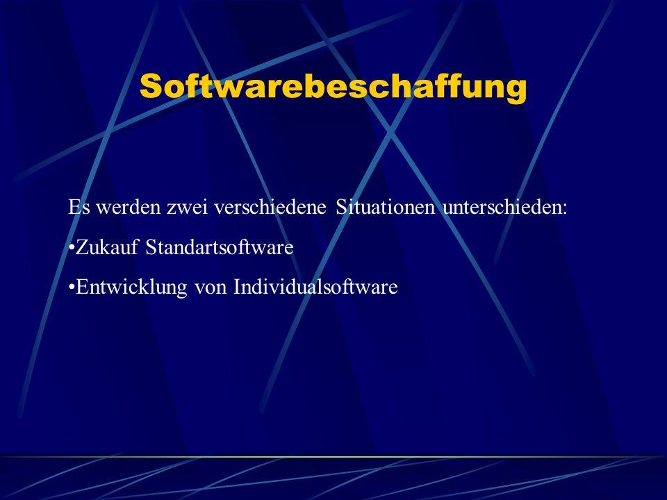 Softwarebeschaffung Es werden zwei verschiedene Situationen unterschieden: Zukauf Standartsoftware.