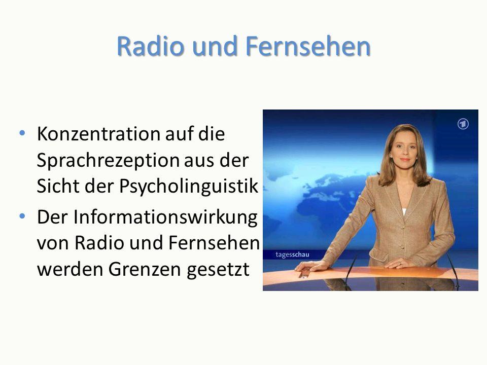 Radio und Fernsehen Konzentration auf die Sprachrezeption aus der Sicht der Psycholinguistik.
