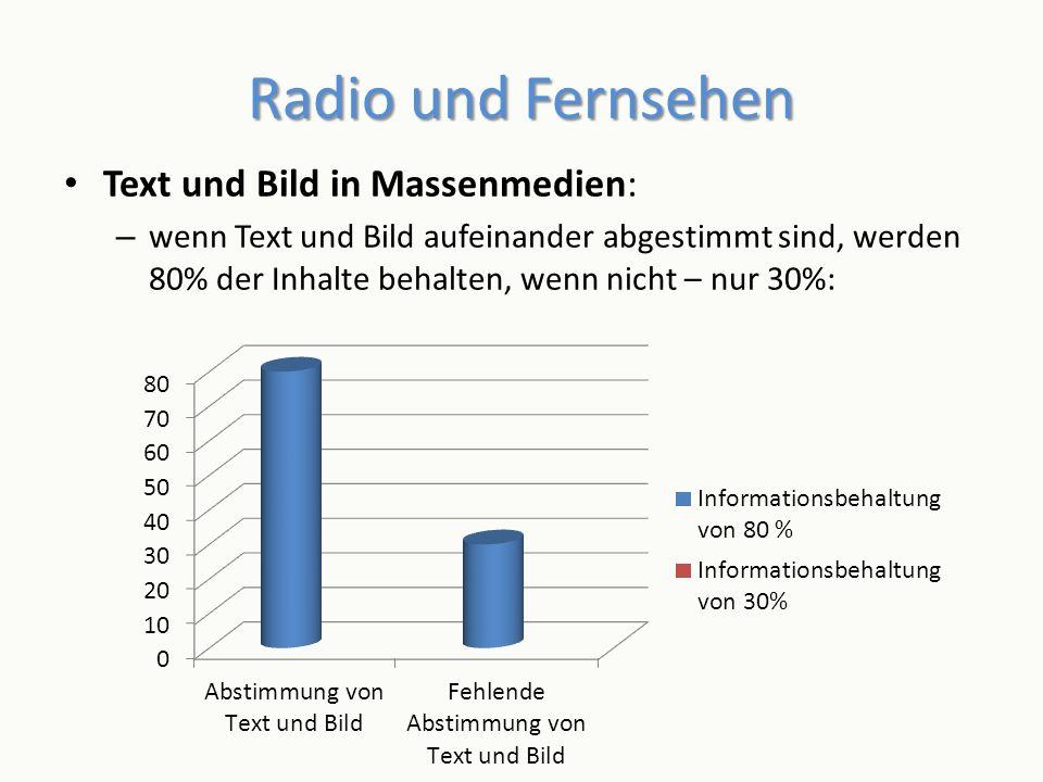 Radio und Fernsehen Text und Bild in Massenmedien:
