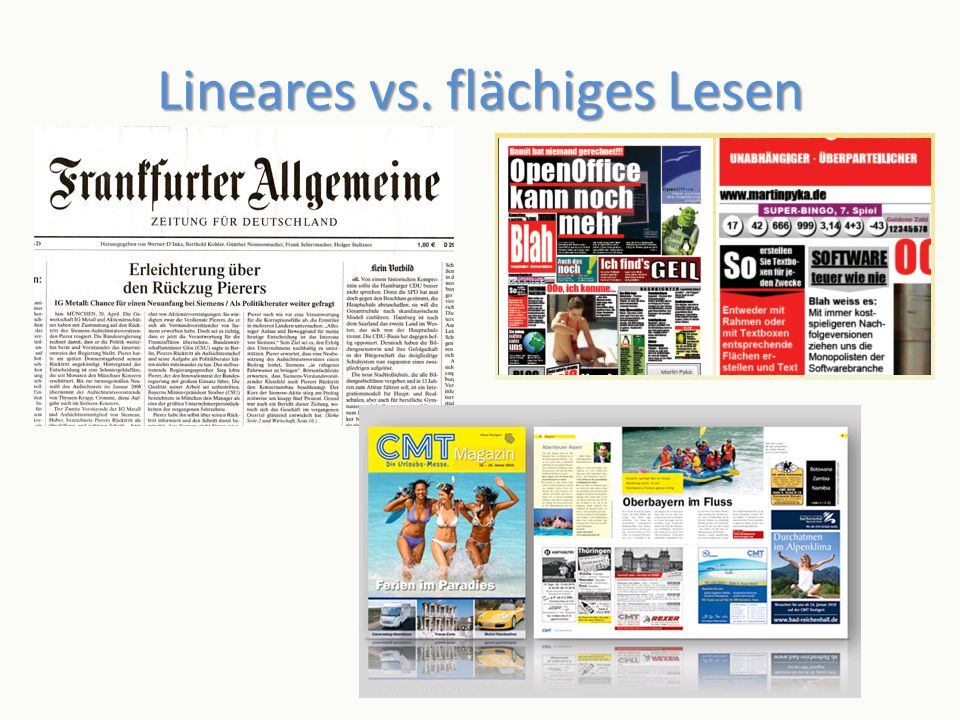 Lineares vs. flächiges Lesen