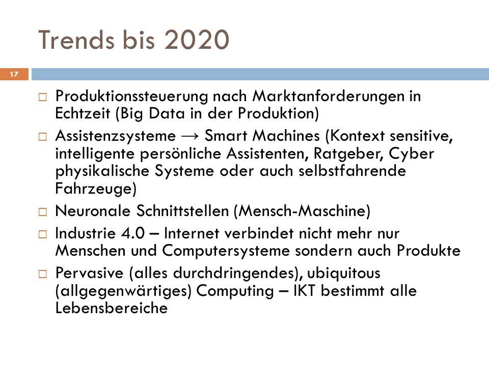 Trends bis 2020 Produktionssteuerung nach Marktanforderungen in Echtzeit (Big Data in der Produktion)
