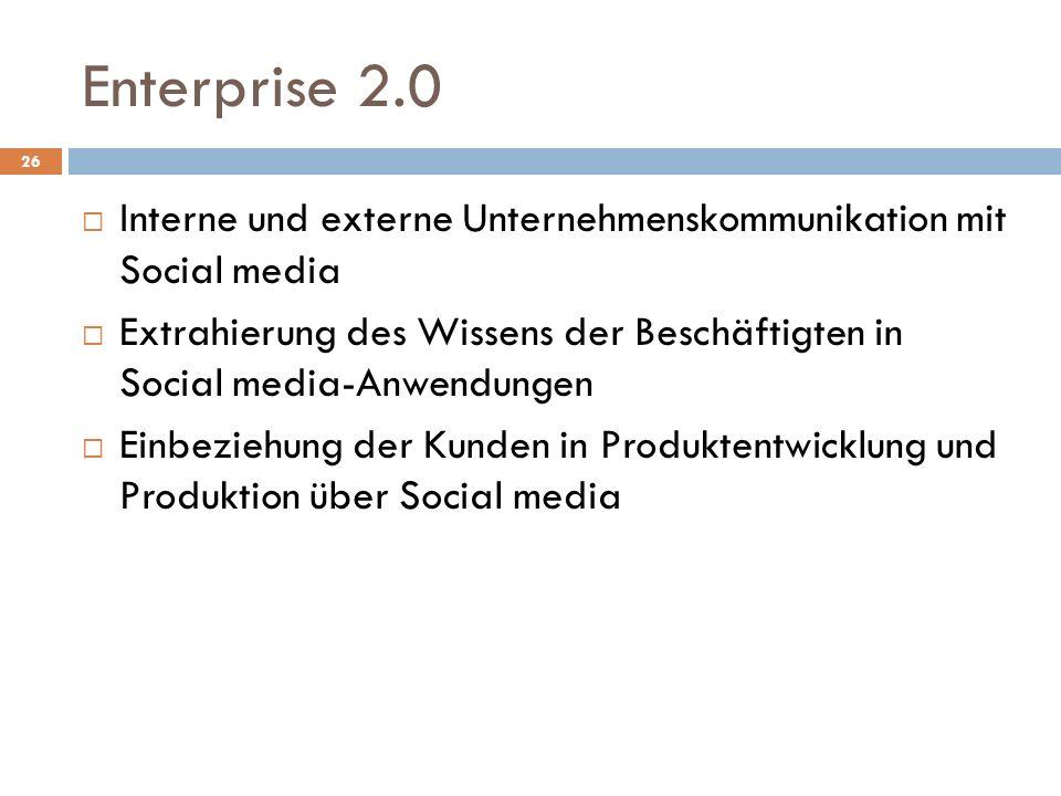 Enterprise 2.0 Interne und externe Unternehmenskommunikation mit Social media.