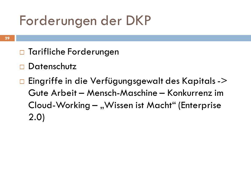 Forderungen der DKP Tarifliche Forderungen Datenschutz