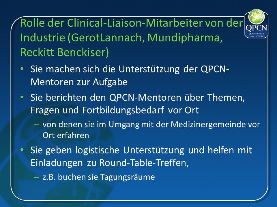 Rolle der Clinical-Liaison-Mitarbeiter von der Industrie (GerotLannach, Mundipharma, Reckitt Benckiser)