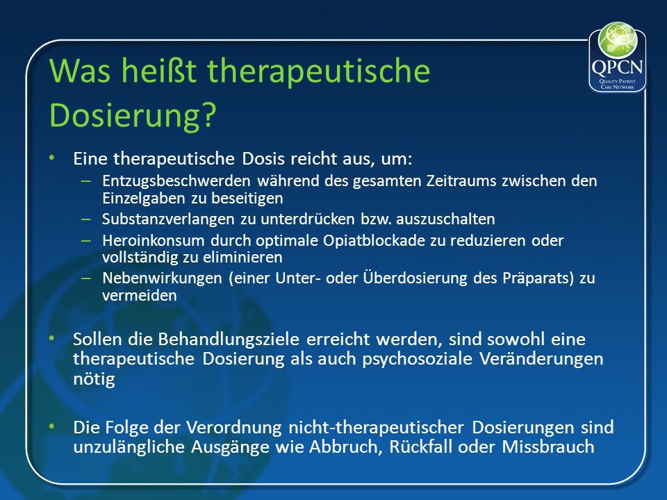 Was heißt therapeutische Dosierung