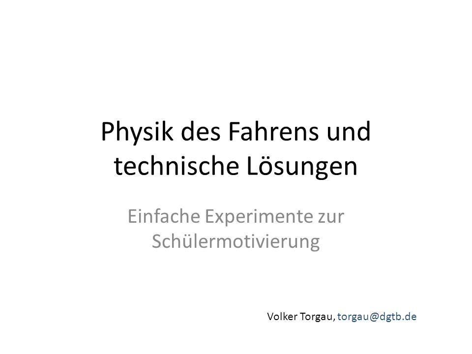 Physik des Fahrens und technische Lösungen