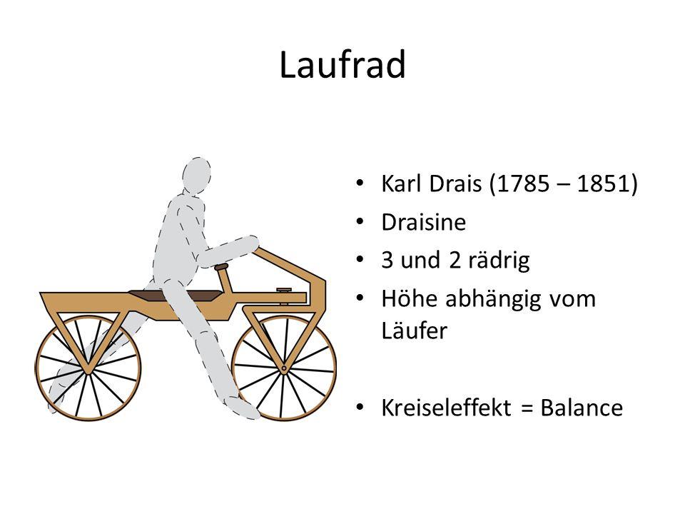 Laufrad Karl Drais (1785 – 1851) Draisine 3 und 2 rädrig