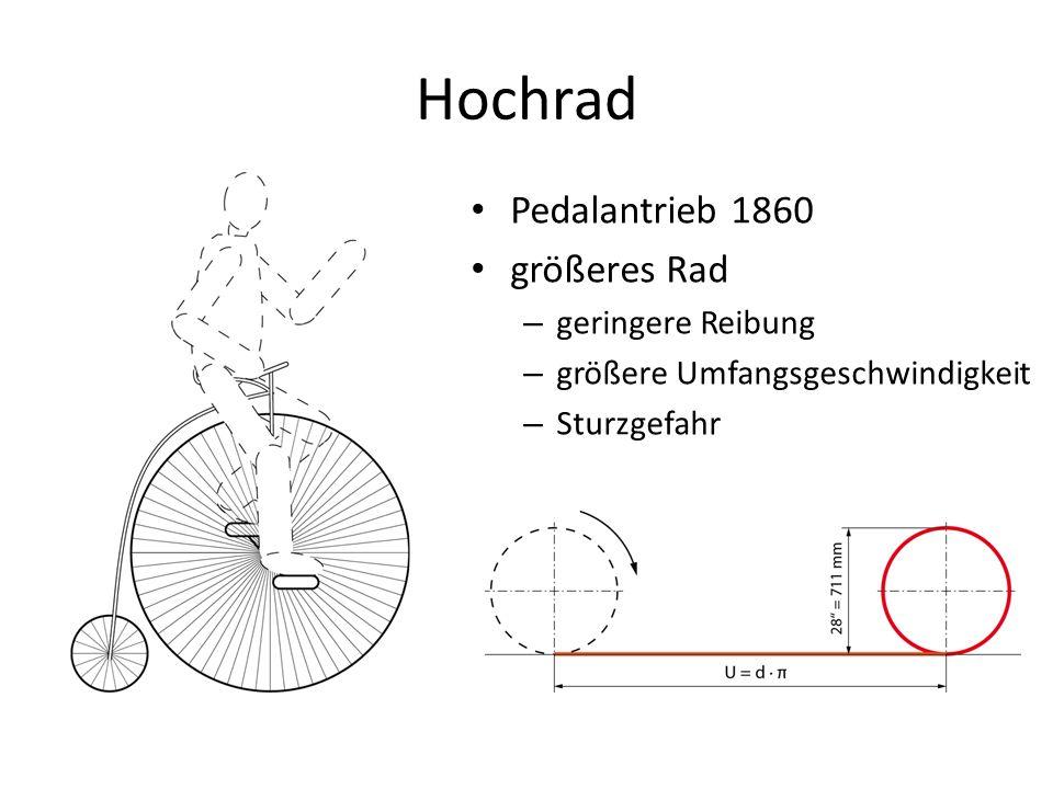 Hochrad Pedalantrieb 1860 größeres Rad geringere Reibung