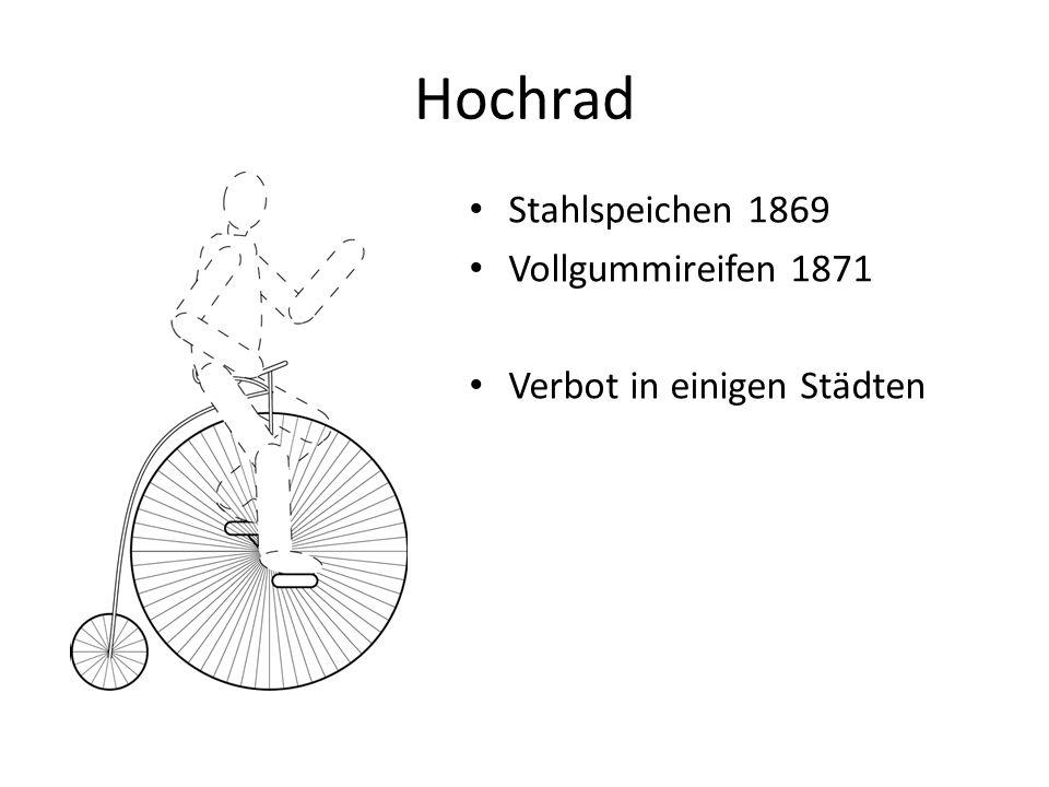 Hochrad Stahlspeichen 1869 Vollgummireifen 1871