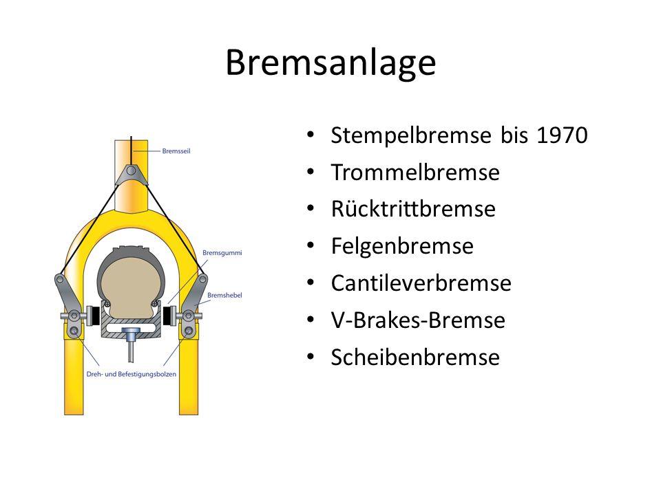 Bremsanlage Stempelbremse bis 1970 Trommelbremse Rücktrittbremse