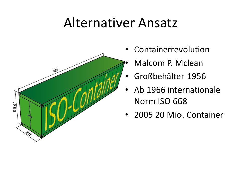 Alternativer Ansatz Containerrevolution Malcom P. Mclean