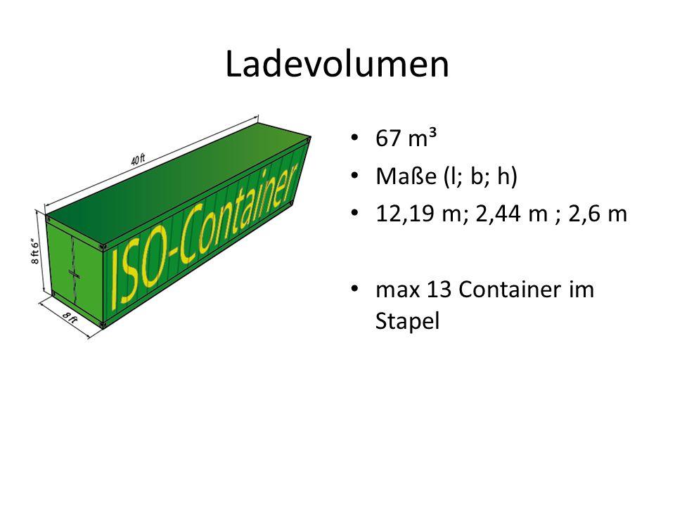 Ladevolumen 67 m³ Maße (l; b; h) 12,19 m; 2,44 m ; 2,6 m