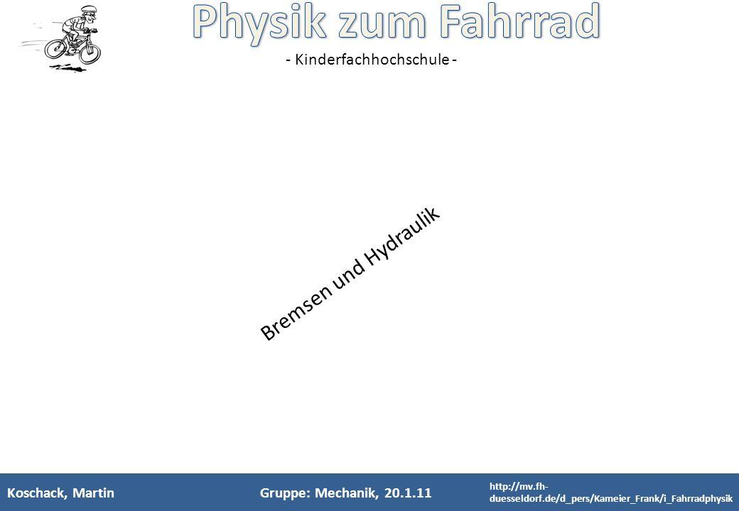 Bremsen und Hydraulik Koschack, Martin Gruppe: Mechanik, 20.1.11 11