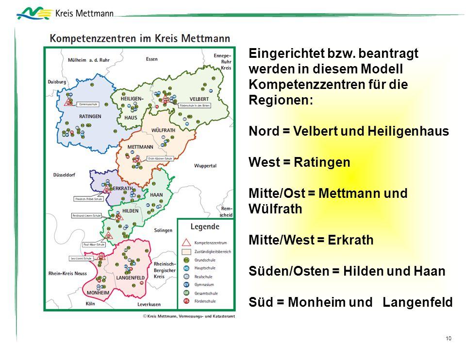 Nord = Velbert und Heiligenhaus West = Ratingen
