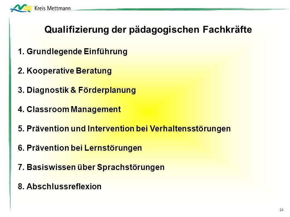 Qualifizierung der pädagogischen Fachkräfte