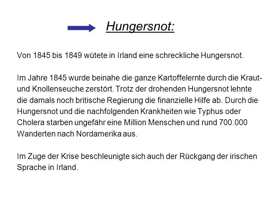 Hungersnot: Von 1845 bis 1849 wütete in Irland eine schreckliche Hungersnot. Im Jahre 1845 wurde beinahe die ganze Kartoffelernte durch die Kraut-