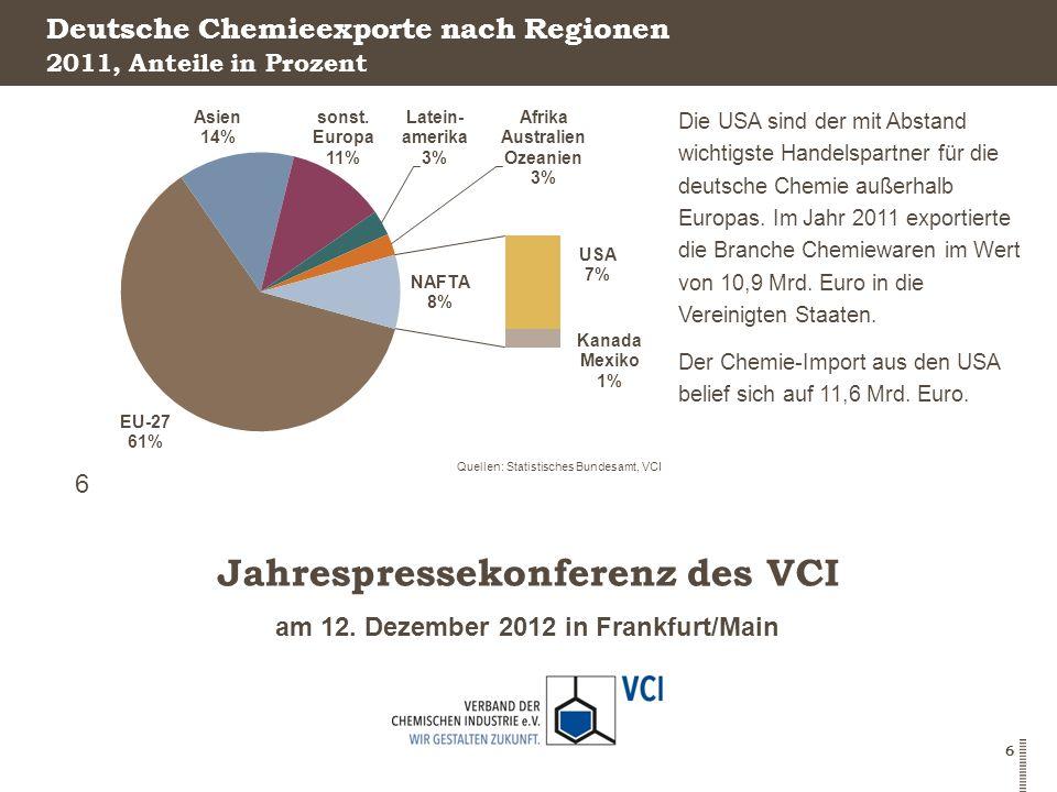 Deutsche Chemieexporte nach Regionen
