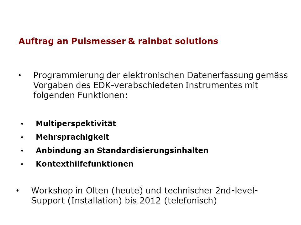 Auftrag an Pulsmesser & rainbat solutions